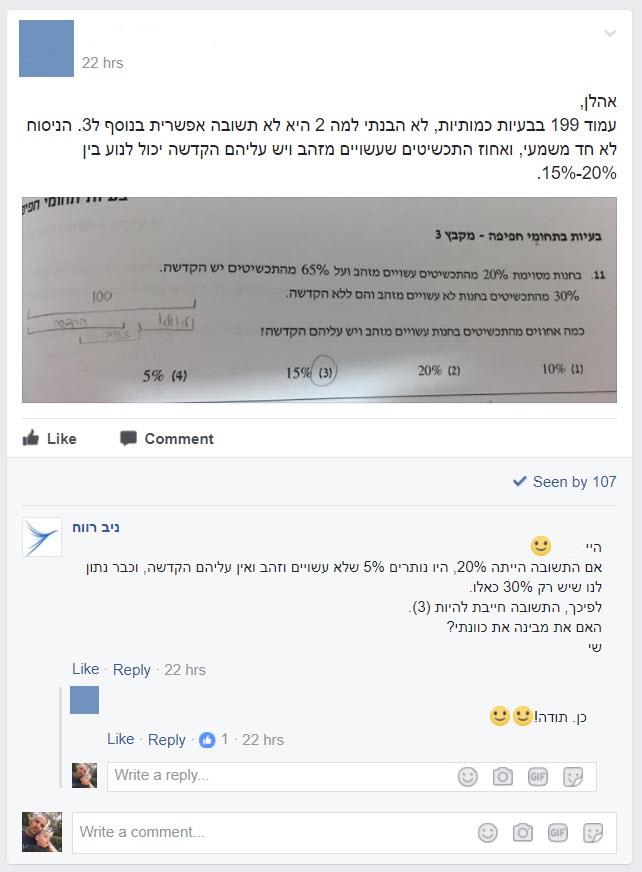 פייסבוק ניב רווח פסיכומטרי